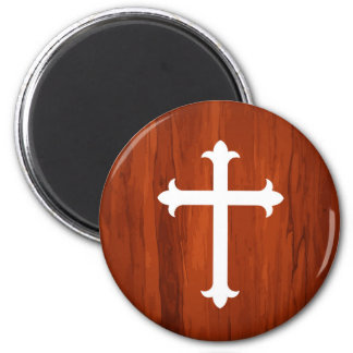Weißer christlicher heiliger querer hölzerner runder magnet 5,7 cm