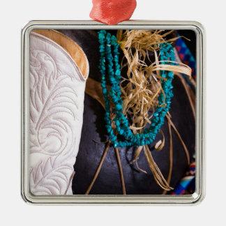 Weißer Cowgirl-Stiefel-Western-Cowboy-Topf-Türkis Silbernes Ornament