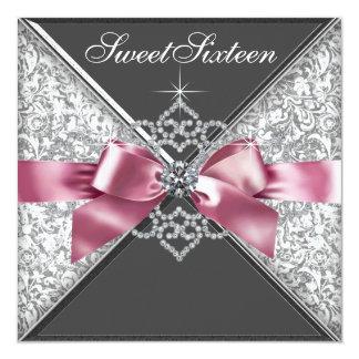 Weißer Diamant-Rosa-Schwarz-Bonbon 16 Individuelle Ankündigungskarte