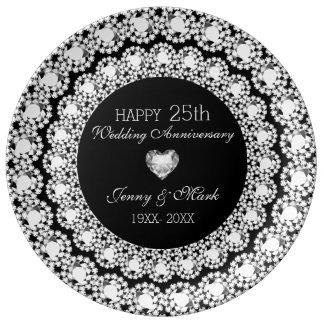 Weißer Diamant-schwarzer Kreis-25. Jahrestag Teller