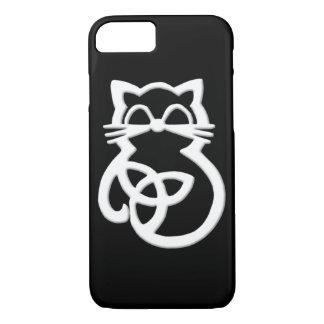 Weißer Dreiheits-Knoten-keltisches Katze iPhone iPhone 8/7 Hülle