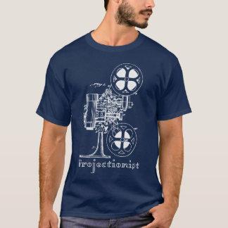 Weißer Druck des Filmvorführer-T - Shirt