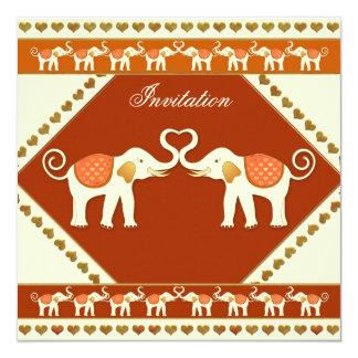 Weißer Elefant-festliche Hochzeits-Einladung Quadratische 13,3 Cm Einladungskarte