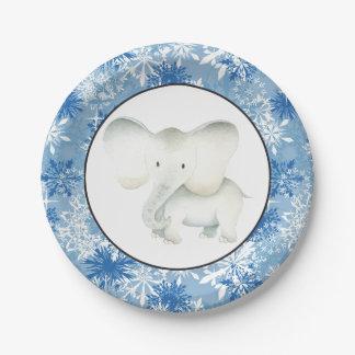 Weißer Elefant Weihnachtsschneeflocke-Partyplatte Pappteller