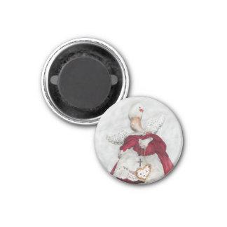 Weißer Fink-und Weihnachtsengels-Magnet Runder Magnet 3,2 Cm