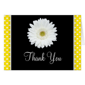 Weißer Gerbera-Gänseblümchen-Gelb-Tupfen danken Karte