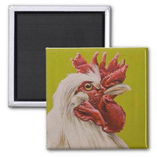 Weißer Hahn Quadratischer Magnet