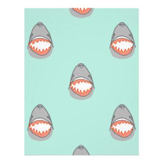 Weißer Hai geht im grauen w-Aqua-Ozean-Wasser 21,6 X 27,9 Cm Flyer