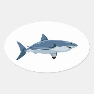 Weißer Hai Ovaler Aufkleber