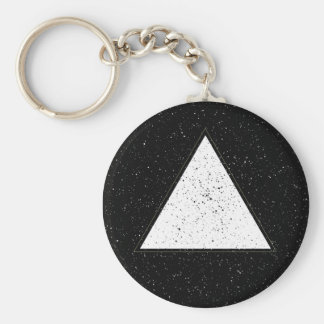 Weißer Hipsterraumdreieckschwarzhintergrund Standard Runder Schlüsselanhänger
