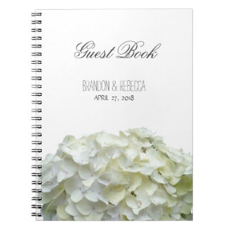 Weißer Hochzeithydrangea-BlumenGuestbook Notizblock