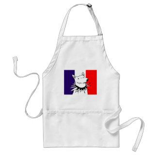 weißer Hund der Cartoonart und Frankreich-Flagge Schürze