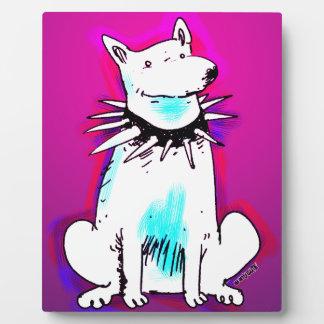 weißer Hund mit Spitzenkragen Fotoplatte