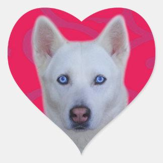 Weißer Husky-Aufkleber (rosa Hintergrund) Herz-Aufkleber