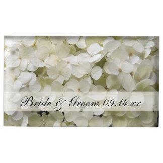 Weißer Hydrangea-Hochzeits-Tabellen-Kartenhalter Tischkartenhalter