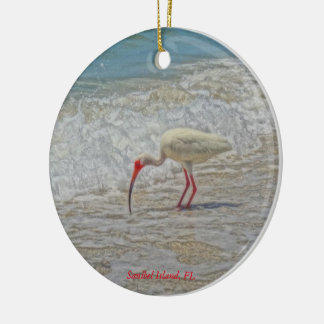 Weißer IBIS tropischer Vogel Sanibel Keramik Ornament