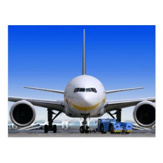 Weißer Jet mit blauem Taxi Postkarte