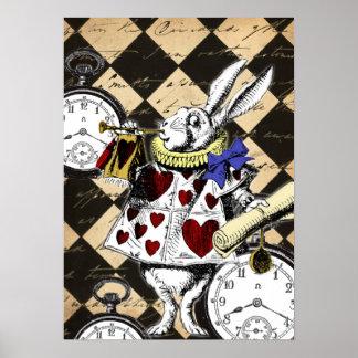 Weißer Kaninchen-Alice im Wunderland-Plakat-Druck Poster