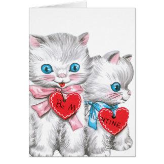 Weißer Kätzchen-Valentinsgruß Karte