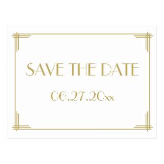 Weißer Kunst-Deko große Gatsby Save the Date Postkarte