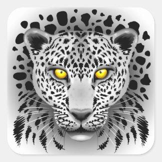 Weißer Leopard mit gelbe Augen-quadratischen Quadratischer Aufkleber