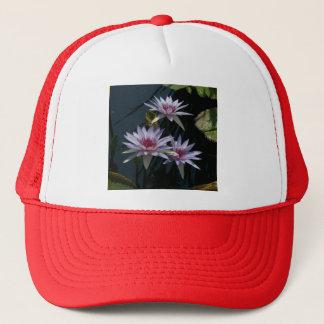 Weißer lila Lotos-Wasserlilie-Hut Truckerkappe