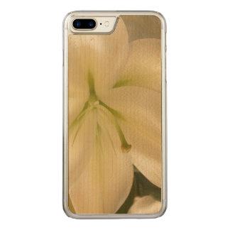Weißer Lillum Blumen-Foto-Holz-Kasten Carved iPhone 8 Plus/7 Plus Hülle