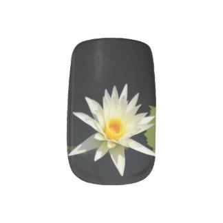 Weißer Lotos-Wasserlilie-Nagel-Kunst Minx Nagelkunst