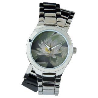 Weißer Lotos-Wasserlilie-Uhr Armbanduhr