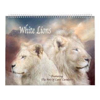 Weißer Löwe-Kunst-Kalender Abreißkalender