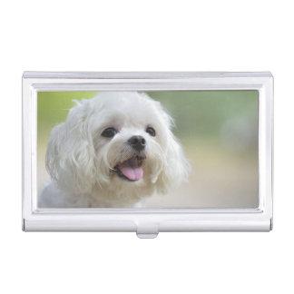 Weißer maltesischer Hund Visitenkarten Etui