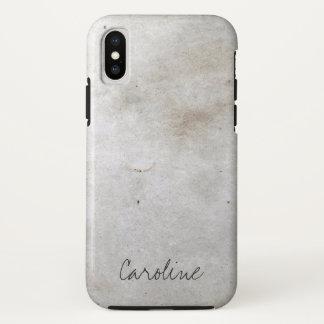 Weißer Marmor. Addieren Sie Namen iPhone X Hülle