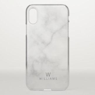 Weißer Marmor mit personalisiertem Monogramm und iPhone X Hülle