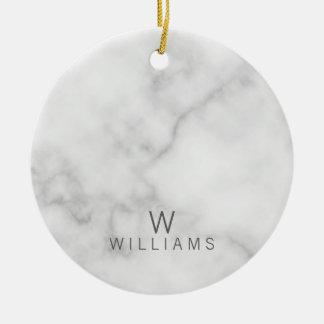 Weißer Marmor mit personalisiertem Monogramm und Keramik Ornament
