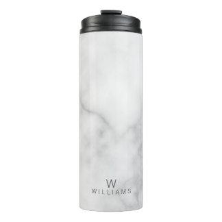 Weißer Marmor mit personalisiertem Monogramm und Thermosbecher