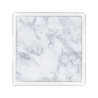 Weißer Marmorblick Acryl Tablett
