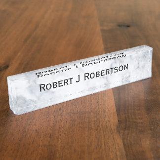 Weißer Marmorblick Schreibtischplakette