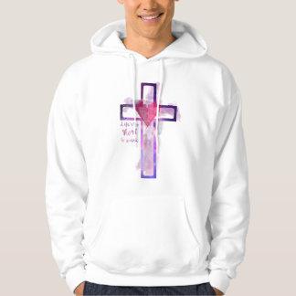 Weißer Moletom mit Kapuze mit Kreuz Wasserfarbe Hoodie