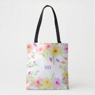 weißer Pastelllavendel Sommer-Blume Watercolor Tasche