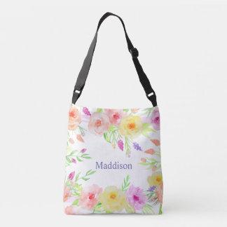 weißer Pastelllavendel Sommer-Blume Watercolor Tragetaschen Mit Langen Trägern