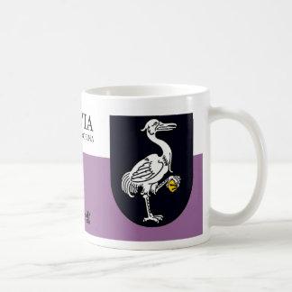 Weißer Pelikan mit Goldstein von Grobiņa Lettland Kaffeetasse