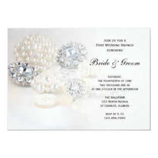 Weißer Perlen-Diamant knöpft 12,7 X 17,8 Cm Einladungskarte