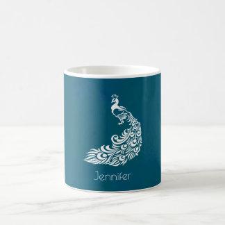 Weißer Pfau auf aquamariner Chic-stilvollem Kaffeetasse