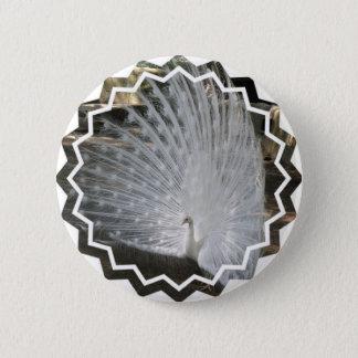 Weißer Pfau-runder Knopf Runder Button 5,1 Cm