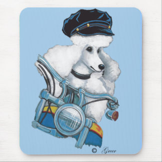 Weißer Radfahrer-Küken-Pudel - besonders Mousepad
