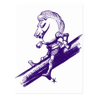 Weißer Ritter schwärzte Lila mit Tinte Postkarte
