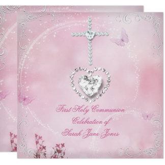 Weißer rosa Schmetterling der Mädchen-erster Karte