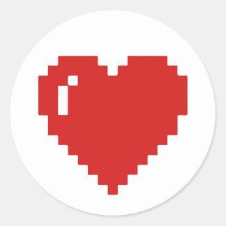 Weißer/roter Spiel-Pixel-Herz-Aufkleber Runder Aufkleber
