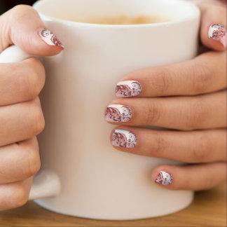 Weißer Satin mit rosa Rosen-Blumendruck Minx Nagelkunst