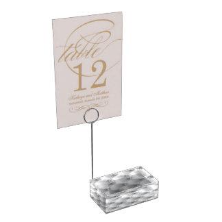 Weißer Satin-Steppdecken-Tabellen-Kartenhalter Tischkartenhalter
